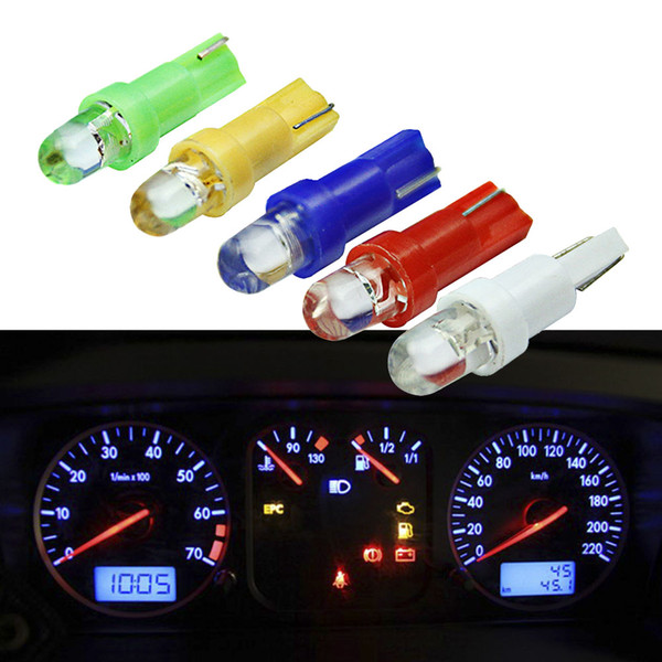 Интерьер автомобиля T5 светодиодный 1 SMD светодиодный приборной панели Клин 1LED Лампа автомобильная лампочка светодиодная T5 12 В Желтый Синий Зеленый Красный Белый