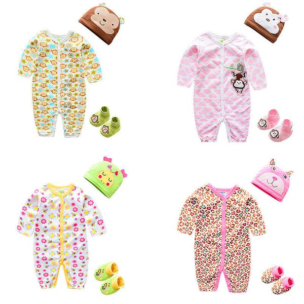 Newborn Baby Clothing Spring Autumn Long Sleeve hat cloth shoes set O Neck Jumpsuit Toddler Romper 100% Cotton Multi Colors