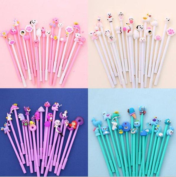 20 adet / paket Sevimli Karikatür Tasarımlar Jel Mürekkep Yazma Kalemler Ofis Çalışma Malzemeleri Çocuklar Doğum Günü Okulu Paketler Parti Favor Goodie