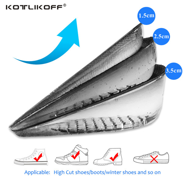 Height Increase Elevator Insoles Pads Soles For Shoes Women Men Silicone Gel Lift Height Increase Shoe Insoles Heel Insert