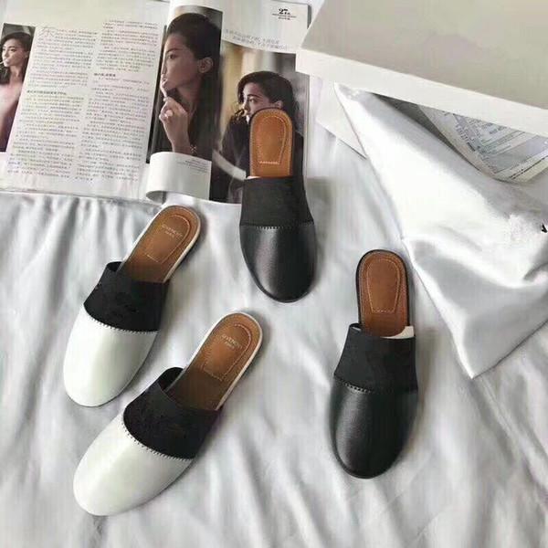2018 New Luxury Designer Womens Genuine Leather Lambskin Flats Mules Slides Brand Woman slippers with Letter black white golden slipper mule