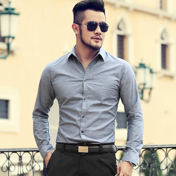Herren Herbst und Winter New Oxford Pure Cotton Weiß Slim Fit Markenhemd Herren British Style Business Langarmhemd S892
