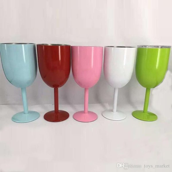 6 Colors Stainless Steel RTIC Style Wine Glass Cup Double Wall Insulated Metal Goblet With Lid Tumbler Red Wine Mugs In Stock
