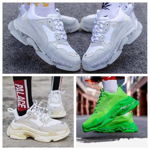 best selling New Paris 17FW Triple S Sneakers Mens Women Casual Shoes Triple S Clear Sole White Green Black Red Rainbow Sports Outdoor Dad Shoe