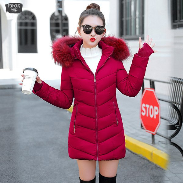 Chaqueta de invierno 2019 para mujer Abrigo de invierno grueso Ropa de mujer Chaquetas de mujer Chaquetas largas Chaqueta de algodón con cuello de piel sintética