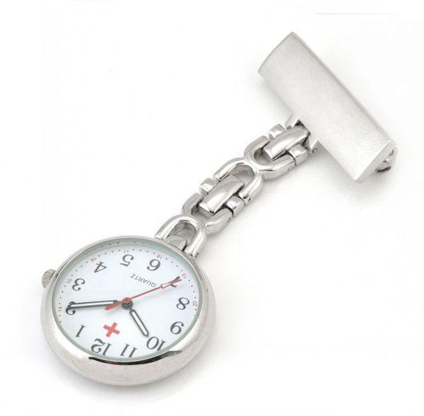 Classic Design Nurses Watch Women Men Silver Pin Clip-on Pocket Watch Hanging Brooch Ladies Gifts Nurse Pocket