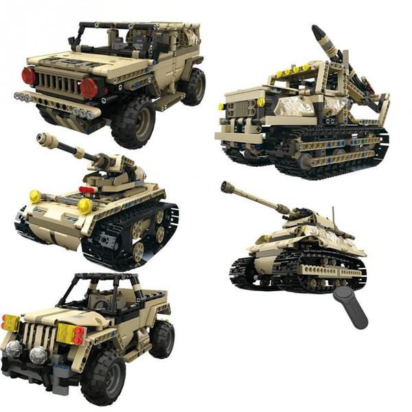 Bausteine DIY montieren Spielzeug 2,4 GHz 4 Kanäle Fernbedienung RC Military Car Truck RC Tank