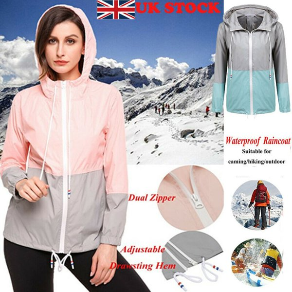 Women's Waterproof Raincoat Outdoor Hooded Rain Jacket Windbreaker S-2XL Ladies Patchwork Fashion Trench