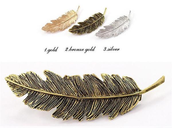 Clip a forma di foglia di metallo Barrettes Crystal Pearl Hair Barrette Colore Hair Feather Hair Claws Hair Styling Tool