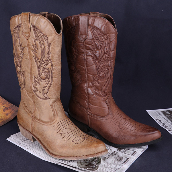 Großhandel Rass Ple 2019 Western Cowboystiefel Pu Leder Cowgirl Stiefel Starke Ferse Winter Warme Schuhe Frauen Damen Chaussures Femmes Von Hadfunn,