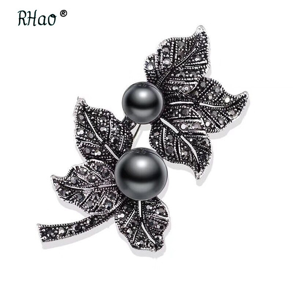 Jewelry Black Gun Plated Simulated Pearl Brooch Pins Vintage Rhinestones double Leaf Brooches for Women Gift