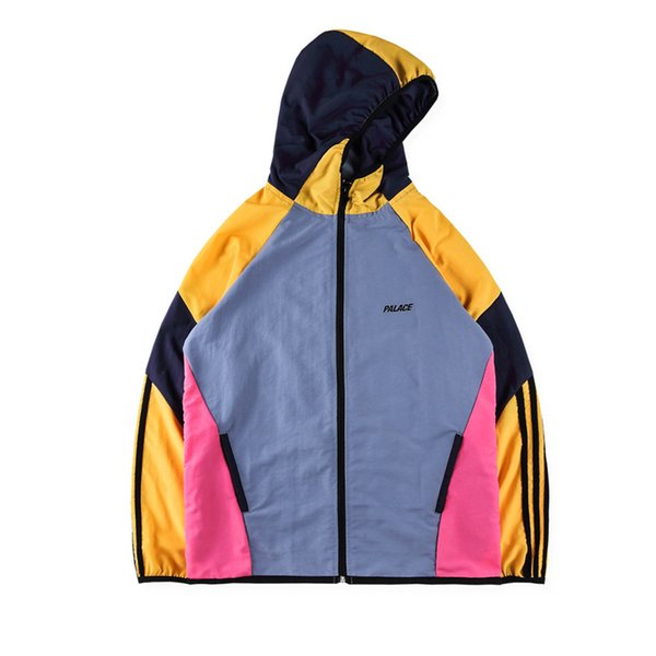 PALACEs 17SS colorblock stitching jacket hooded jacket men's and women's sports and leisure jacket S- XL