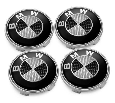 4 X 68mm BMW tapones de rueda de aleación de carbono negra Hubs