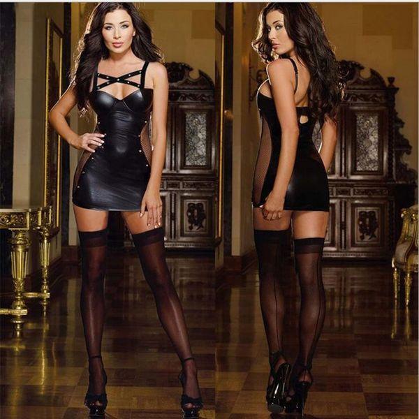 Mulheres Sexy Lingerie Látex PU Leather BODYCON Vestidos Bandage Patchwork Baixo traje Bosom Erótico Academia Body Plus Size