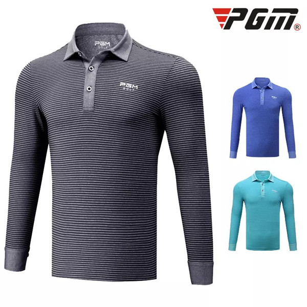 Pgm Autumn Winter Golf Clothing Mens Striped Long-Sleeved Training Shirts Button Collar T-Shirt Breathable Anti-Uv Apparel D0487