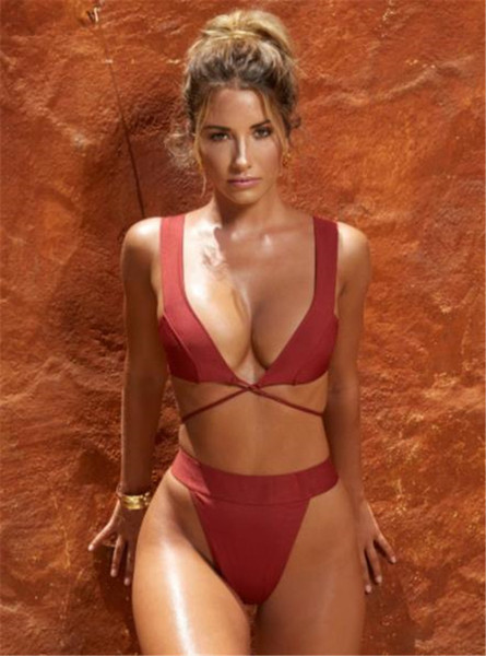 2020 women bathing suits fashion solid color low cut lace-up two pieces swimsuits summer womens swimwear