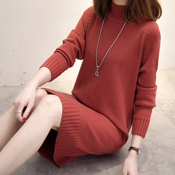 Long Knitted Women Sweater Dress Female Winter Long For Girls Ladies Autumn Winter Dress Women 2018 Pullover Turtleneck Y19012102