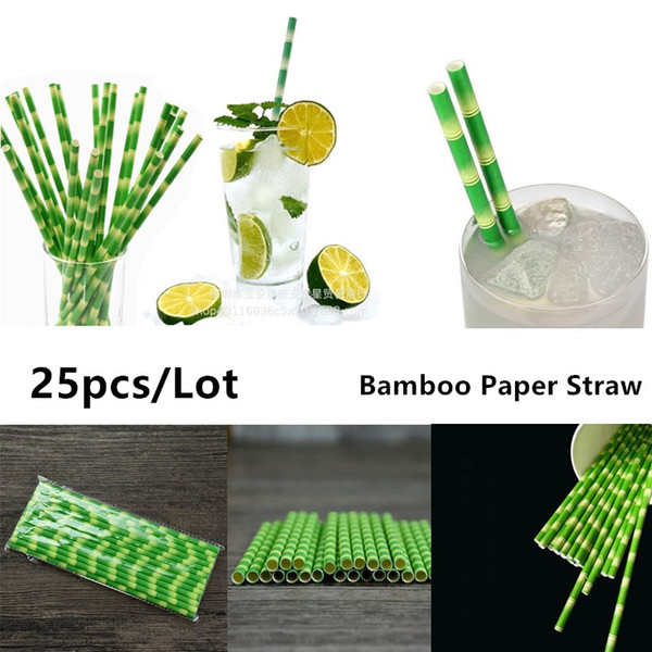 Wholesale-25pcs/lot Bamboo Paper Straws for Kids Birthday Wedding Decoration Party Straws Striped Creative Paper Drinking Straws Green