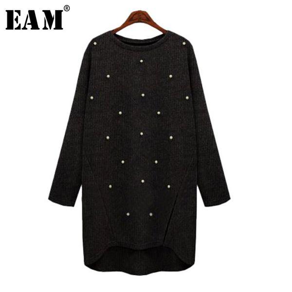 [EAM] 2019 Новая весна шею с длинным рукавом сплошной цвет кратко прибил вязаный свитер женская мода прилив J81501XL