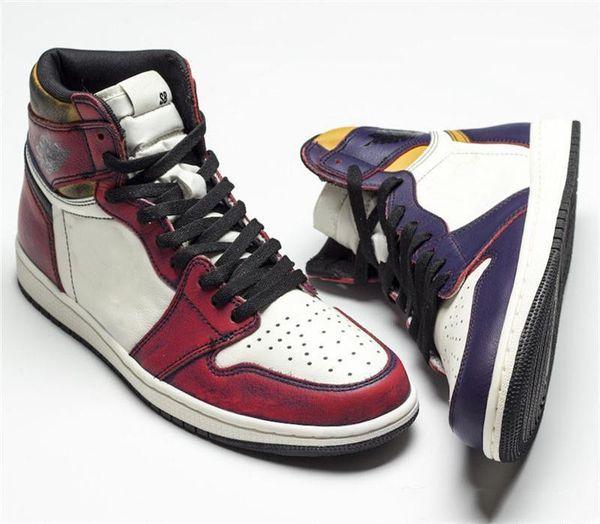 2019 Authentic SB High 1 OG Defiant Basketball Shoes Light Bone Court Purple Black GOLD Retro Men Sneakers CD6578-507 With Box