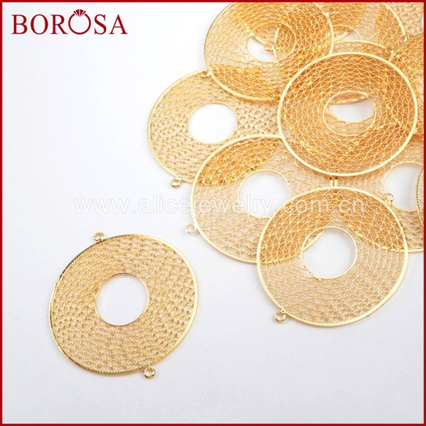 wholesale 30PCS 40mm Round Shape Gold Color Brass Hollow Ring Connectors Double Charms Bails Jewelry Findings PJ098