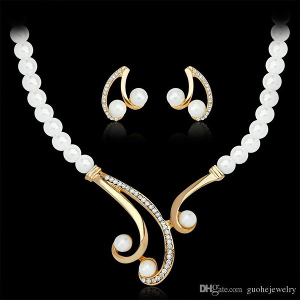 New fashion necklace earring sets Korean pearl diamond necklaces elegant jewelry set for women free shipping
