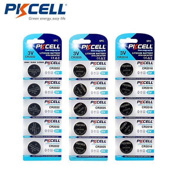 بطاريات خلية زر PKCELL 5/1 2032 5004 220 5PCS / 1 بطاقات CR2025 5003LC 150mAh 5PCS / 1 CR2016 5000LC 75MAH 3V زر الليثيوم خلية