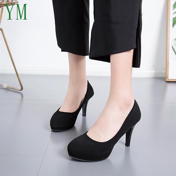Designer Dress Shoes 2019 Basic High Heels Flock High Thick Heel Pumps Slip On Round Toe Ladies Nice 7/5CM Female Women Footwear 34-39