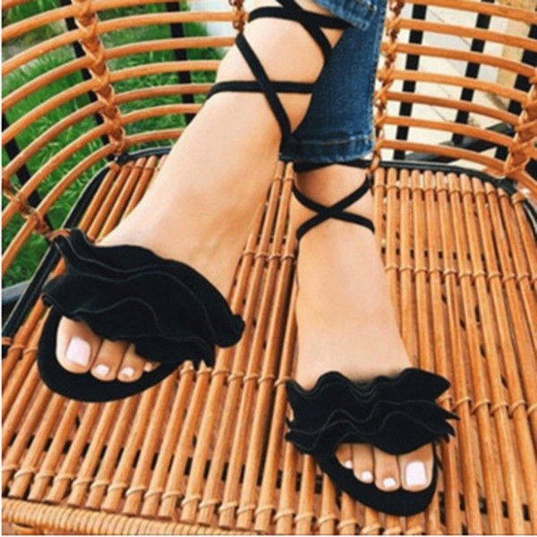 2018 Women casual Sandals shoes Gladiator Lace Up Flat Heels Shoes Fashion flower Women Ankle Strap Summer Sandals zapatos mujer