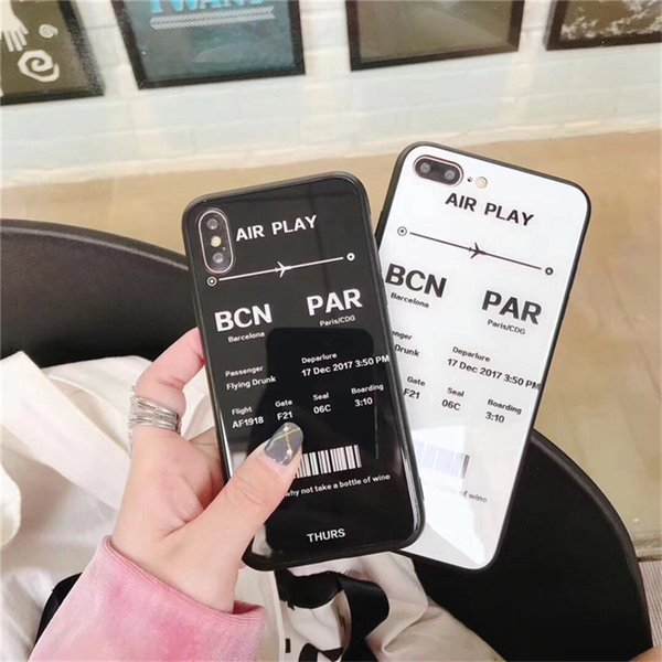 Airfare Tickets Lovers Phone Case for iPhoneX Phone Vase Simple Personality Glass Men And Women for iphone 6 7 8 XR XSMAX