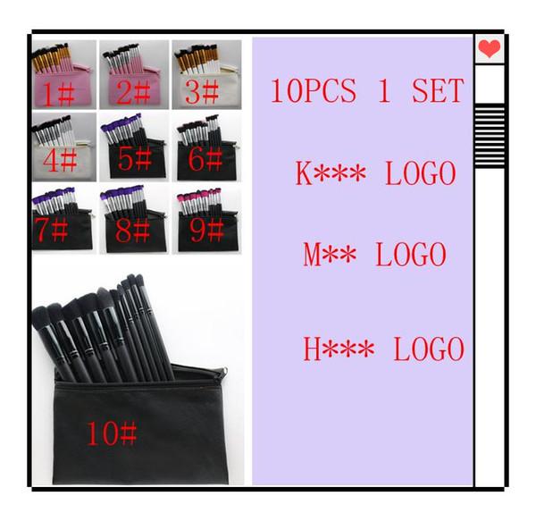 Makyaj Fırçalar Set 10 adet 1 takım ünlü Göz Farı fırçalar Yüz Foundaton makyaj Fırça Seti makyaj çantası ile KKA6799 DHL ücretsiz