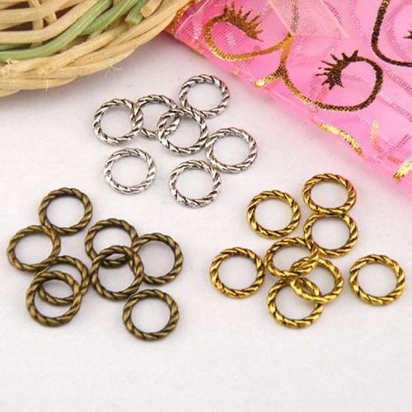 100 Pcs Argent Tibétain, Or Antique, Anneau De Torsion En Bronze Liens Connecteurs Perles Fit Européenne Bracelet Hommes Femmes Bijoux Accessoires 8mm