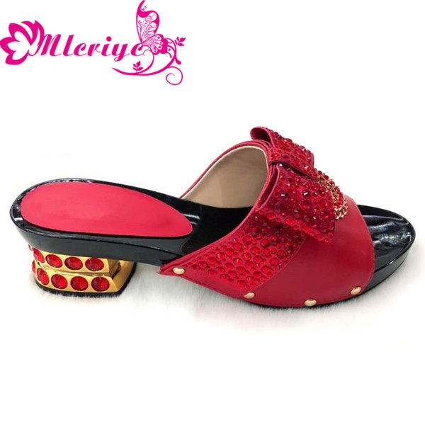 203-1red New Arrival Designer Shoes Women Luxury 2019 Nigerian Women Wedding Shoes Decorated with Rhinestone Slip on Women Party Pumps