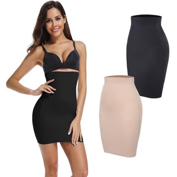 Metade Deslizamentos para Sob Os Vestidos Das Mulheres Tummy Controle Vestido Sem Costura Slip Shapewear Emagrecimento Trainer Cintura Shaper Shaper Do Corpo