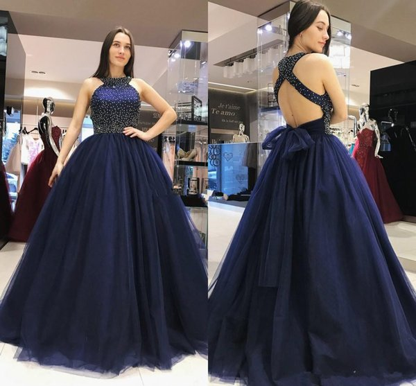 Navy Blue Modest Prom Dresses 2019 Halter Pearls Crystal Ball Gown Open Back Sweep Train Modest Evening Cocktail Party Gowns Customized