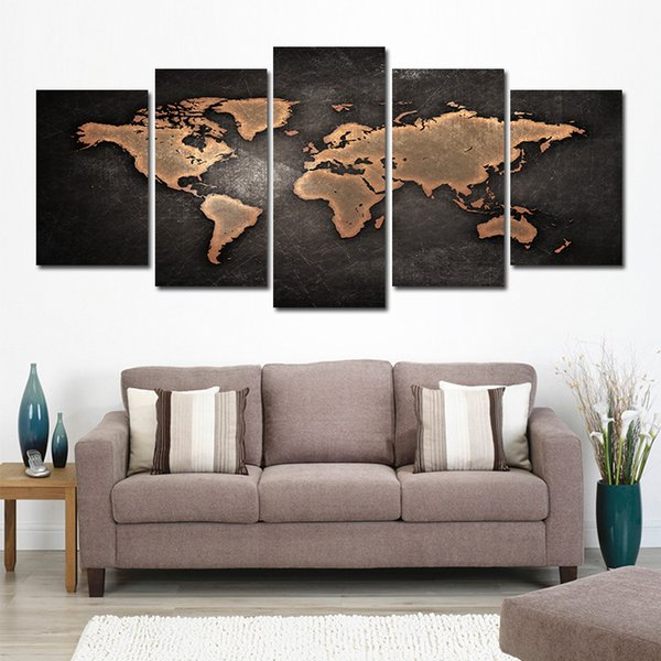 5 Pcs for One Set HD Cool World Map Black Ground Pattern Unframed Canvas Painting Wall Decoration Printed Painting poster