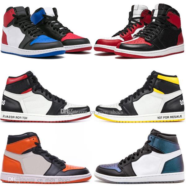 С продажей коробки 1 OG Запрещенный поднятый палец ноги Черный Человек-паук UNC 1s top 3 Мужская баскетбольная обувь Посвящается домой Королевские синие мужские спортивные дизайнерские кроссовки