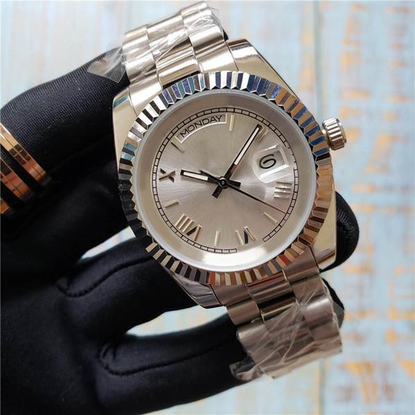 De calidad superior Para Hombre Moda de Lujo Reloj Día Fecha Acero Inoxidable Roma Número Dial Movimiento Automático Barrido Señora Relojes Envío Gratis
