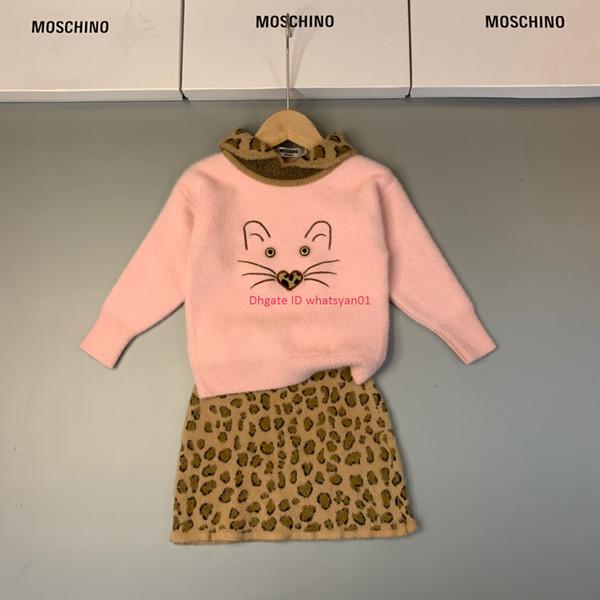 Conjuntos de faldas cortas para niñas, ropa de diseñador para niños, tops de punto con estampado de gato + falda de punto de leopardo, 2 piezas, conjuntos de jerseys nuevos de moda de otoño