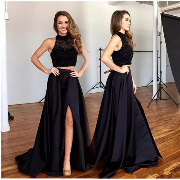 New Sexy Two Pieces Prom Dresses Halter A Line High Side Split Sweep Train Formal Evening Party Gowns Custom Made