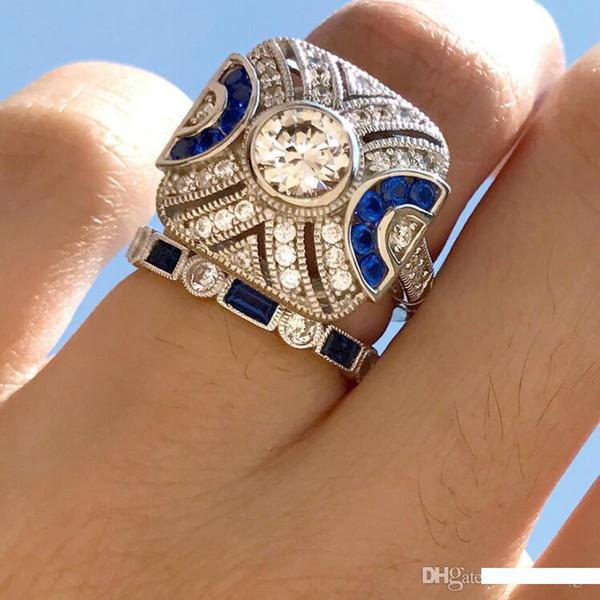 grappolo designer di gioielli topazio anelli blu topazio anelli set di anelli di fidanzamento naturali per le donne calde di modo