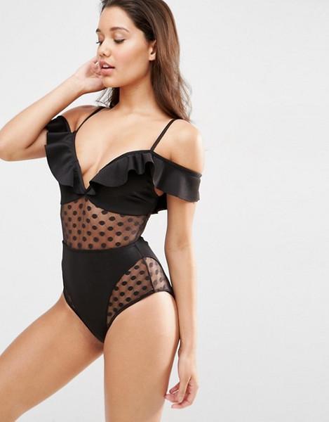 Black White Bikinis One Piece Swimwear for Women Lace Swimsuit 2019 Luxury Designer Ruffles V Monokini Bodysuits Lady Swim Wear Bathing Suit