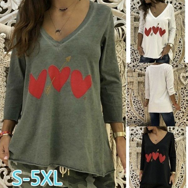 Kadın AŞK V Yaka Bahar Tişörtleri Yaz Gevşek Rahat Uzun Tees Uzun Kollu Tops