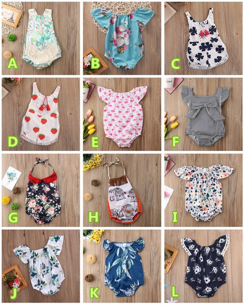 top popular Infant newborn baby girl romper onesies kid clothes bodysuit animal floral striped lemon cactus strawberry jumpsuit summer playsuit 0-24M 2019