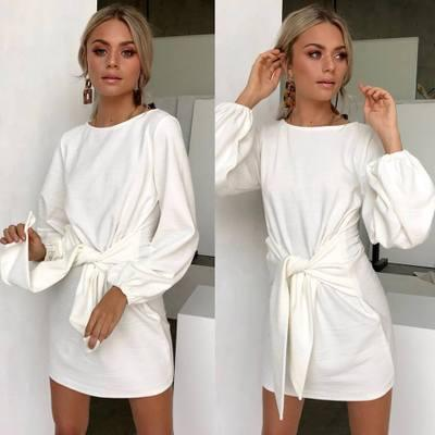 Frauen langarm kleider einfarbig frauen frühling casual kleider neue ankunft getäfelten röcke frauen mode streetwear dress