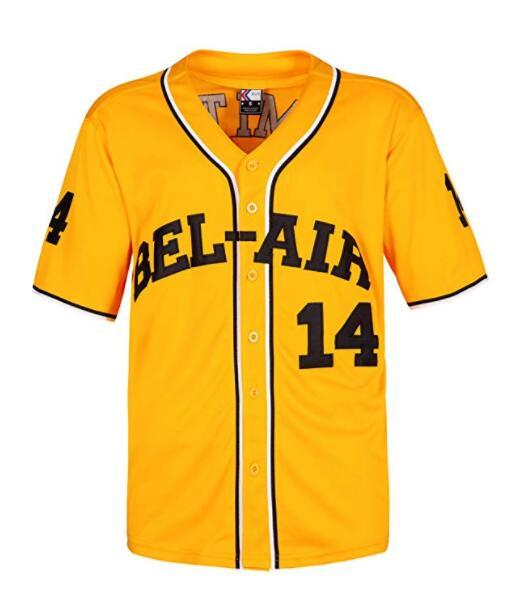 Smith #14 Bel Air Academy Baseball Jersey S-XXXL Yellow, 90S Clothing for Men, Stitched Letters and NumbersSmith #14 Bel Air Academy Basebal