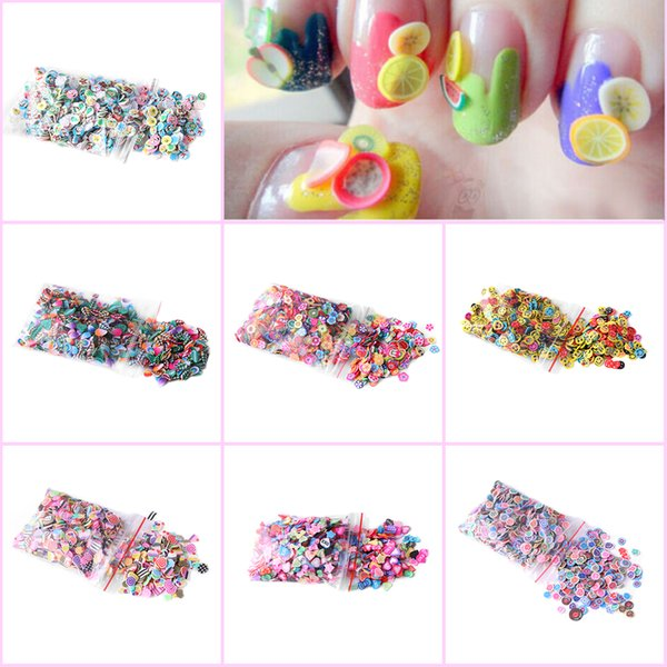 1000pcs/bag Flowers Fruit Fimo Canes Stick 3D Nail Art Decorations Polymer Clay Canes Nail Stickers Tips 5mm Slices Design
