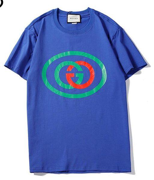 Venda quente novo tee azul homens mulheres Vermelho e verde bb gc modo logotipo padrão de impressão T-Shirt de manga curta O-pescoço T-Shirt atacado S-XXL