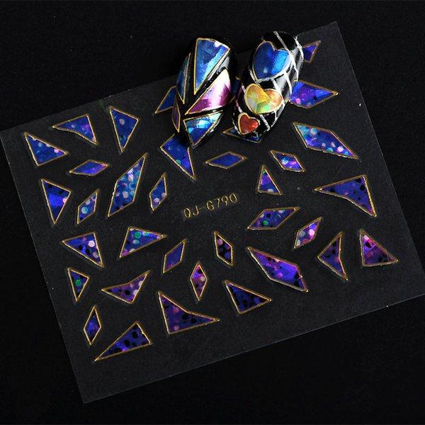 5 Blätter mischfarbe 3D Holographische Glasscherben Folien Finger Nail art Spiegel Aufkleber Glitter Schablone Aufkleber DIY ManicureD2