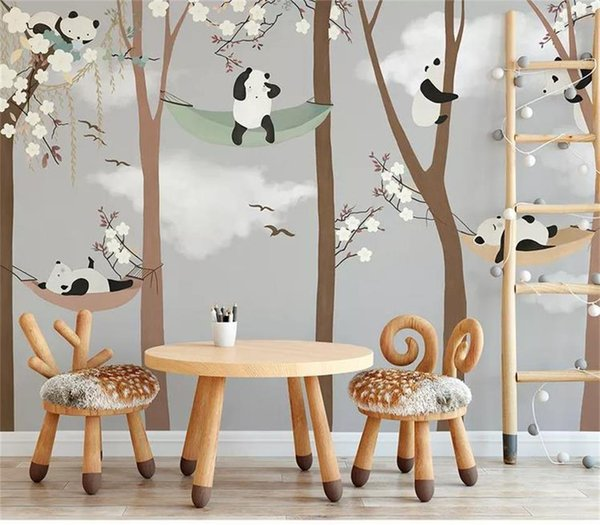 Benutzerdefinierte Größe 3d Fototapete Wandbild Kinderzimmer Cartoon Hand gezeichnet Panda großen Baum 3d Bild Sofa Hintergrund Tapete Wandbild Vlies Aufkleber